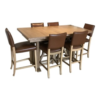 Pennsylvania House White Oak Dining Table With Oak and Leather Chairs Set