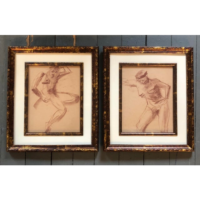 1950s Vintage Original Female Nude Sepia Study Drawings a Pair For Sale - Image 5 of 5