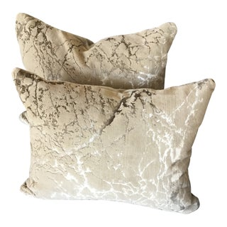 Rodolph Distress Cut Velvet Tryst Lumbar Pillows - A Pair For Sale