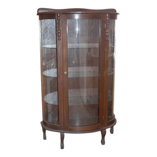 1980s Oak China/Curio Cabinet For Sale