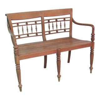 Regency Style Teak Bench For Sale