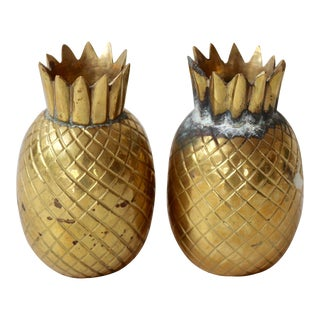 Brass Pineapple Salt & Pepper Shakers - a Pair