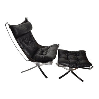 1960s Scandinavian Modern Falcon Leather and Chrome Lounge Chair & Ottoman by Sigurd Ressell - Set of 2 For Sale