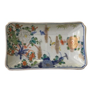 Vintage Chinoiserie Porcelain Tray With Blue Trim & Chrysanthemums