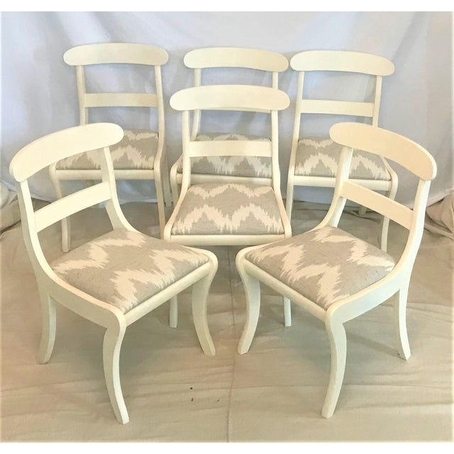 Antique White Mid-Century Regency Klismos Dining Chairs - Set of 6 For Sale - Image 8 of 8