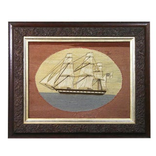 British Sailor's Woolwork Woolie Picture of a Ship, Circa 1865-1875