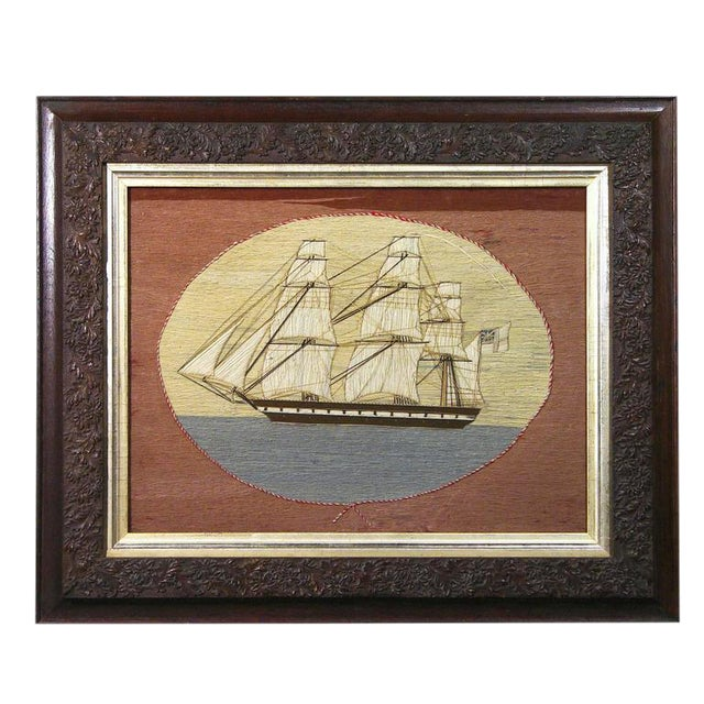 British Sailor's Woolwork Woolie Picture of a Ship, Circa 1865-1875 For Sale