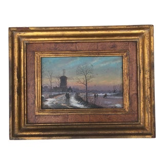 Traditional Dutch Winter Landscape Oil Painting For Sale