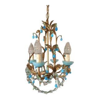 Vintage 1940s French Blue Opaline Chandelier For Sale