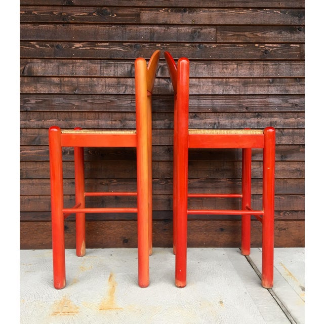 1960s Mid-Century Modern Cassina Style Red Cane Seat Bar Stools - a Pair For Sale In Providence - Image 6 of 12
