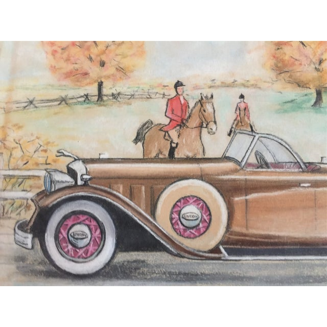 Original Vintage 1950's Pastel Lincoln Car Drawing - Image 3 of 6