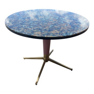 1960s Bistro Style Resin Brass Pedestal Base Dining Table For Sale