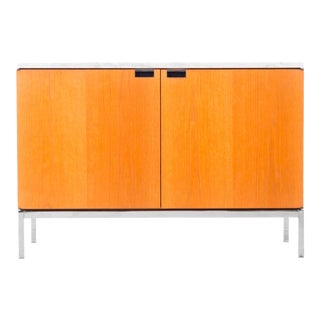 Small Florence Knoll White Oak Credenza with Carrara Marble Top