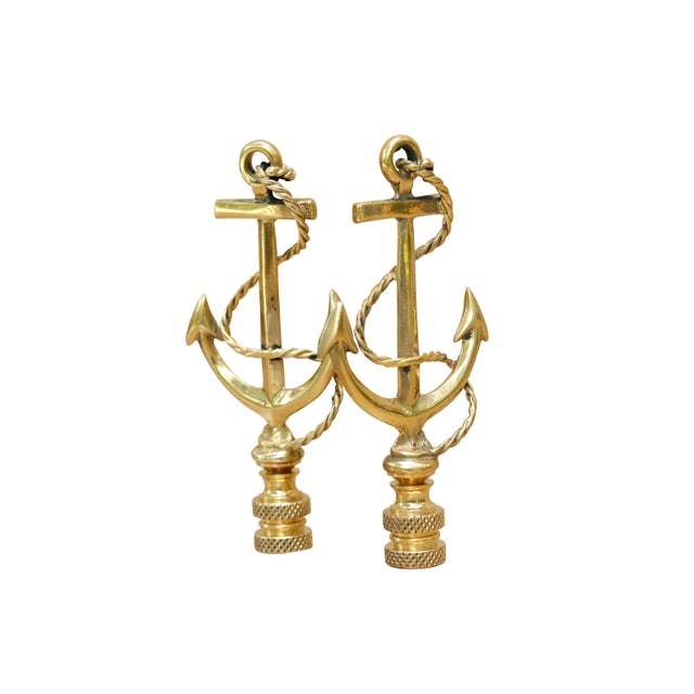A large pair of brass nautical anchor lamp finials. Fits a standard size lamp harp. Dimensions per finial. We have more...