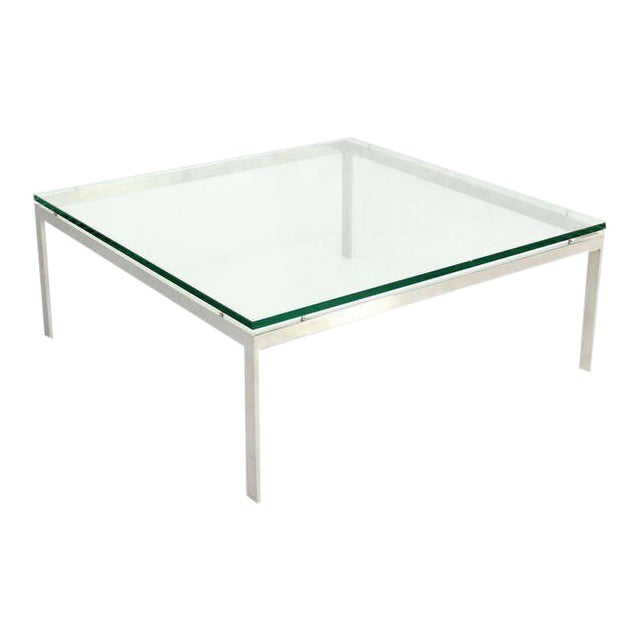 Mid-Century Modern Style Large Square Stainless Base and Glass-Top Coffee Table For Sale