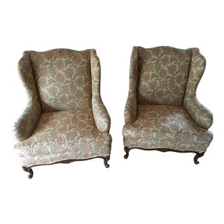 Mid-Century Queen Anne Style Wing Chairs - a Pair