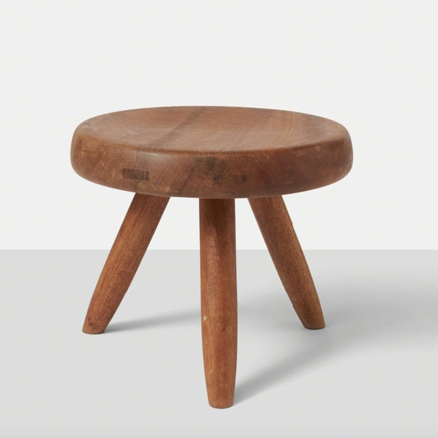 Mid-Century Modern Mahogany Low Stool by Charlotte Perriand For Sale - Image 3 of 3