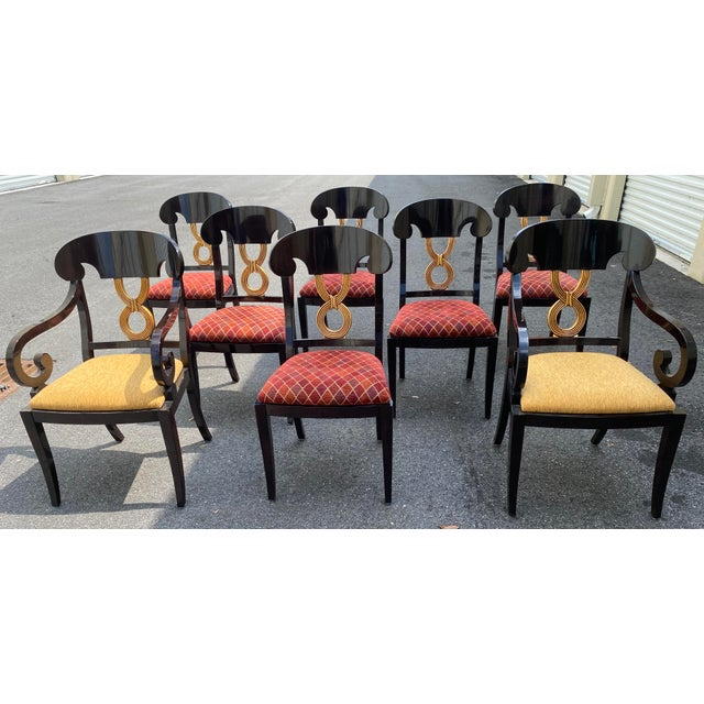 Curved Gold Leaf Lacquered Scroll Arm Dining Chairs - Set of 8 For Sale - Image 12 of 12