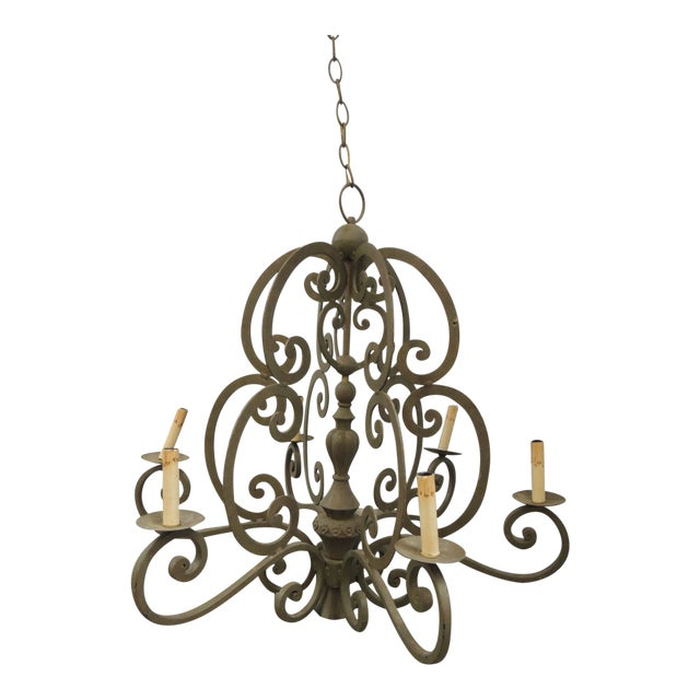 Large Traditional Forged Iron Hanging Chandelier From Curry & Co For Sale