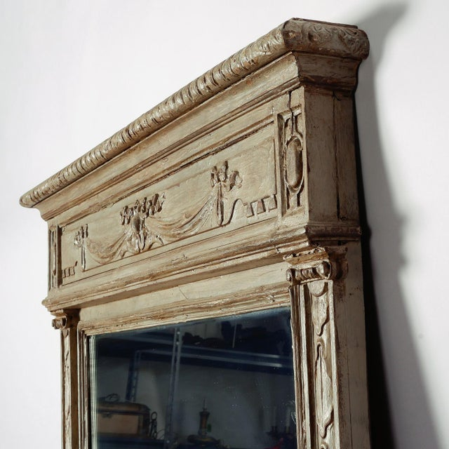Glass Large Painted Green Gray Mirror With Carved Details For Sale - Image 7 of 8