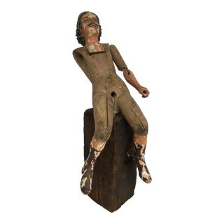 Hand Carved Wood Colonial Figure For Sale