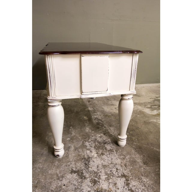 Vintage Original Light Distressed Entry Two Drawer Console Table For Sale - Image 5 of 7