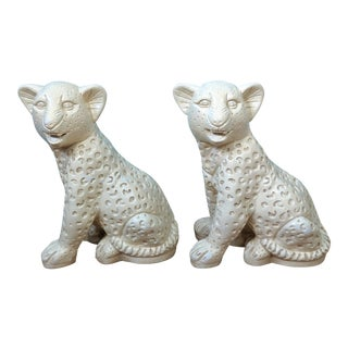 Vintage Life-Sized Plaster Leopard Cubs - a Pair For Sale