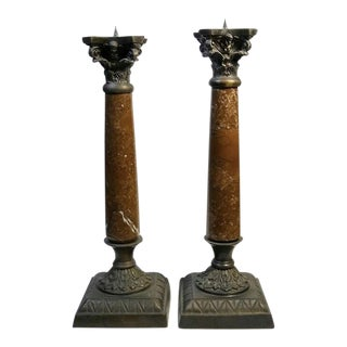 1980s Maitland Smith Marble Neoclassical Candlestick - a Pair For Sale