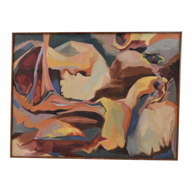 Large Mid-Century Abstract Oil Painting on Canvas For Sale