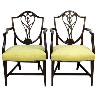 Late 18th Century George III Mahogany Hepplewhite Shield-Back Arm Chairs - a Pair For Sale