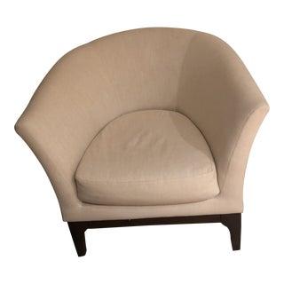 Tulip Chair, Slubby Linen, Flax, Chocolate Legs For Sale