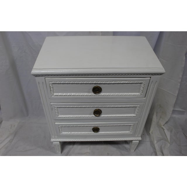 Mid-Century Modern 20h Century Gustavian Dove Wing Bedside Chests - a Pair For Sale - Image 3 of 9