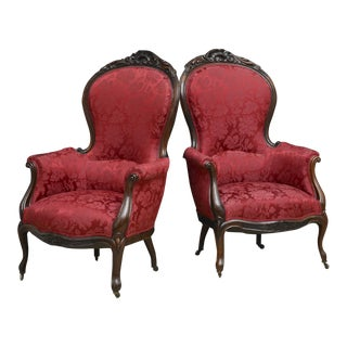 English Antique Victorian Carved Rosewood Parlor Chairs - A Pair