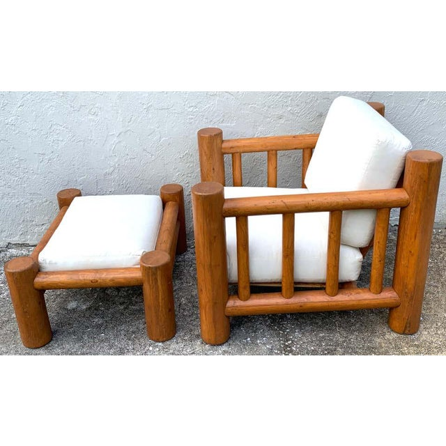 Mid-Century Dowel Lounge Chair and Ottoman For Sale - Image 4 of 10