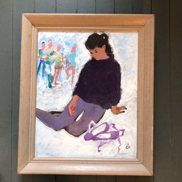 Canvas Vintage Original Modernist Dancer Painting For Sale - Image 7 of 7