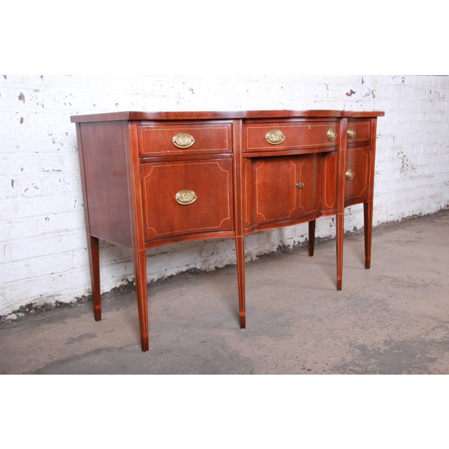 Baker Furniture Company Baker Furniture Hepplewhite Inlaid Mahogany Bow Front Sideboard Credenza For Sale - Image 4 of 13