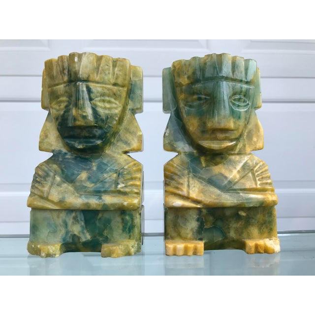 Green Green and Yellow Carved Onyx Bookends - a Pair For Sale - Image 8 of 8