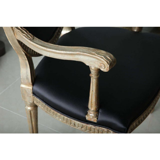 Neoclassical Rare Set of Four Italian Neoclassic Silver Gilt Armchairs For Sale - Image 3 of 8