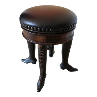 Wonderfully Whimsical Rotating Leather Top Stool With Bronze Lady's Boot Legs For Sale