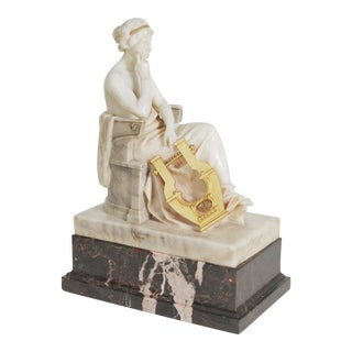 1910s Neoclassical Marble and Ormolu Seated Muse With Harp Sculpture