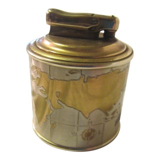 1950s Vintage Colibri Global Map Table Lighter For Sale