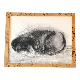 Vintage Original Charcoal Terrier Dog Drawing Mid Century For Sale