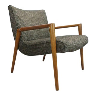 Mid Century Modern Leslie Diamond Birch Framed Low Lounge Scoop Chair For Sale