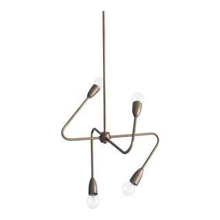 Contemporary Four-Arm Brass Pendant Light For Sale