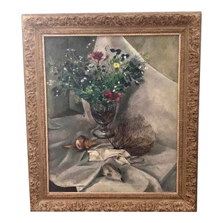 "1940s Vintage Tosca Olinsky ""Floral Still Life"" Oil on Canvas Painting For Sale"