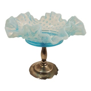 Aqua Opalescent Hobnail Dish With Metal Pedestal