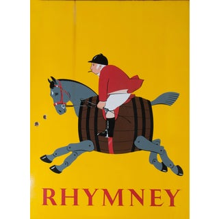 "Rhymney Advertising Sign. Brewery in South Wales Making Crafted Dark Beer. Comical Horse, ""Riding to the Hounds Habit"", on Yellow Enamel Steel For Sale"
