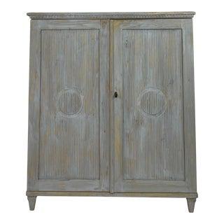 19th Century Swedish Cornflower Blue Wood Cabinet For Sale