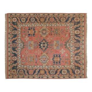 """Vintage Tea Washed Indian Serapi Soumac Design Carpet - 8'2"""" X 9'8"""" For Sale"""