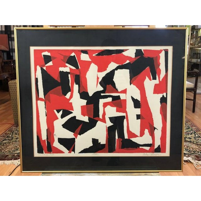 """A striking and scarce midcentury framed Abstract serigraph titled """"Broken Red"""", by acclaimed Hollywood art director and..."""